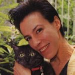 Pictures of Florence Burgat with cat.