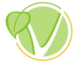 Vegetarian week logo, V with a leaf